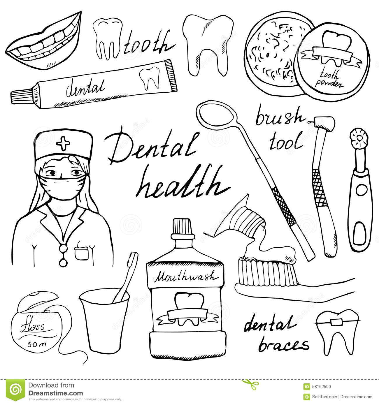 Illustration About Dental Health Doodles Icons Set Hand