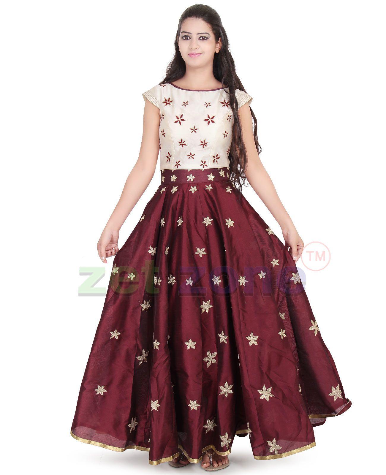 0c9d65d835b3d8 Maroon & Cream Stunning Umbrella Cut Lehenga-Choli, Latest Traditional  Dress Comes With Gold
