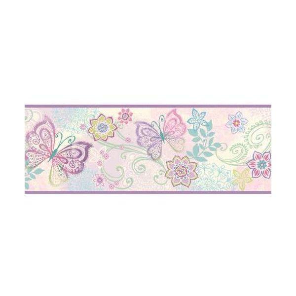 Brewster TOT46452B Fantasia Purple Boho Butterflies Scroll