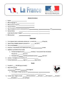 I use this in my Middle School French Classes as part of a unit on French Geography. 100 questions on France. Can be used as part of an internet search assignment or most answers can be found on France CultureGram (www.culturegrams.com). Covers Land, People, Economy, Government, Mountain Ranges, Rivers, Transportation, etc.