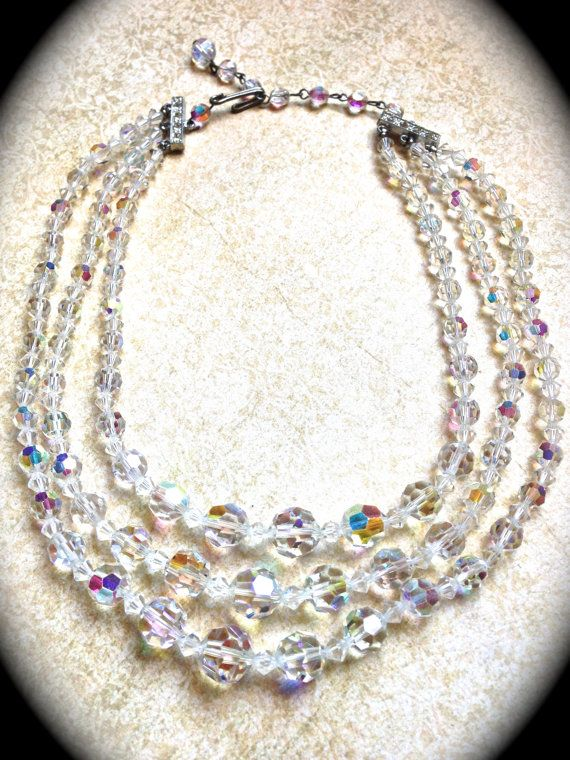 Vintage Crystal 3 Strand Necklace Choker Cluster Earrings Jewelry Set Box