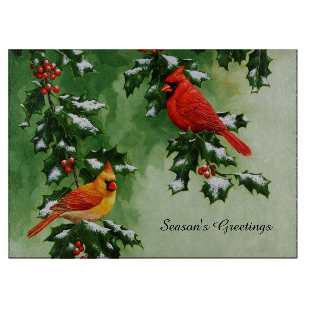 Cardinal in Wintery Holly Bush~Birds Christmas~DIY Counted Cross Stitch Pattern