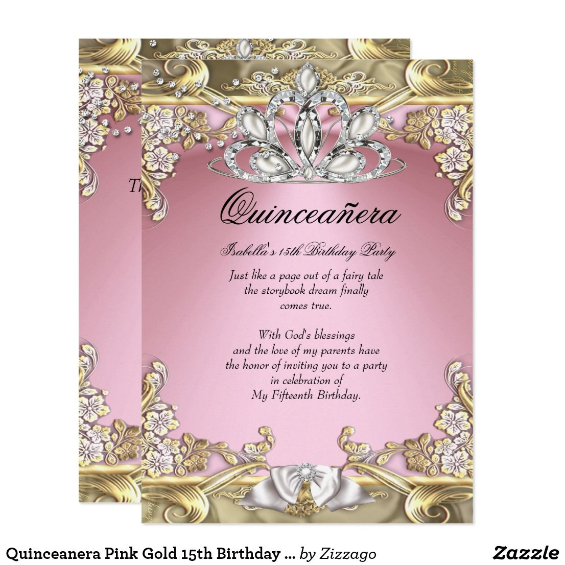 Quinceanera Pink Gold 15th Birthday Party Card   15th birthday and ...