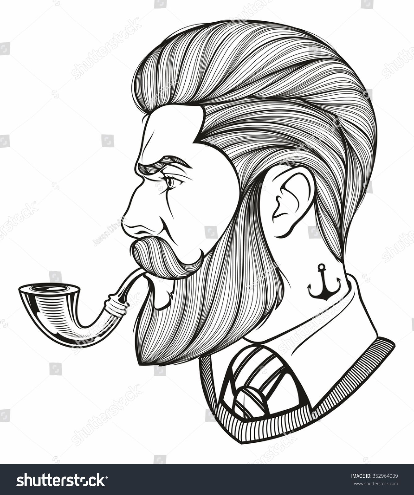 Hand drawn portrait of bearded man with pipe side view