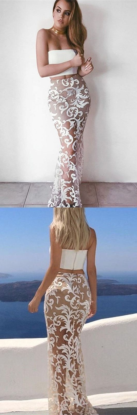 Modest two piece white mermaid prom dresses simple strapless sheer