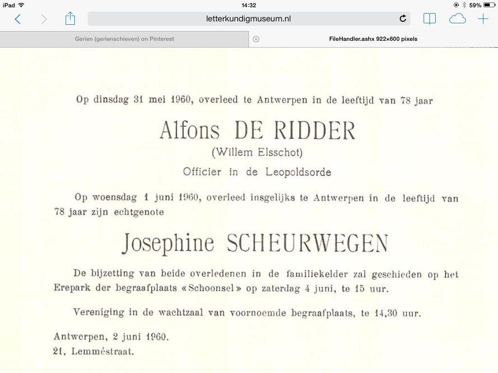 Overlijdensadvertentie Van Willem Elsschot En Zijn Vrouw