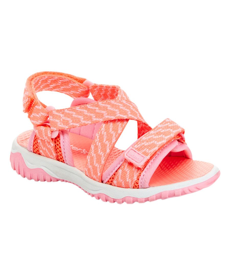 4bd982f57f035 Look at this Carter s Neon Pink   Peach Stripe Splash Sandal on  zulily  today!