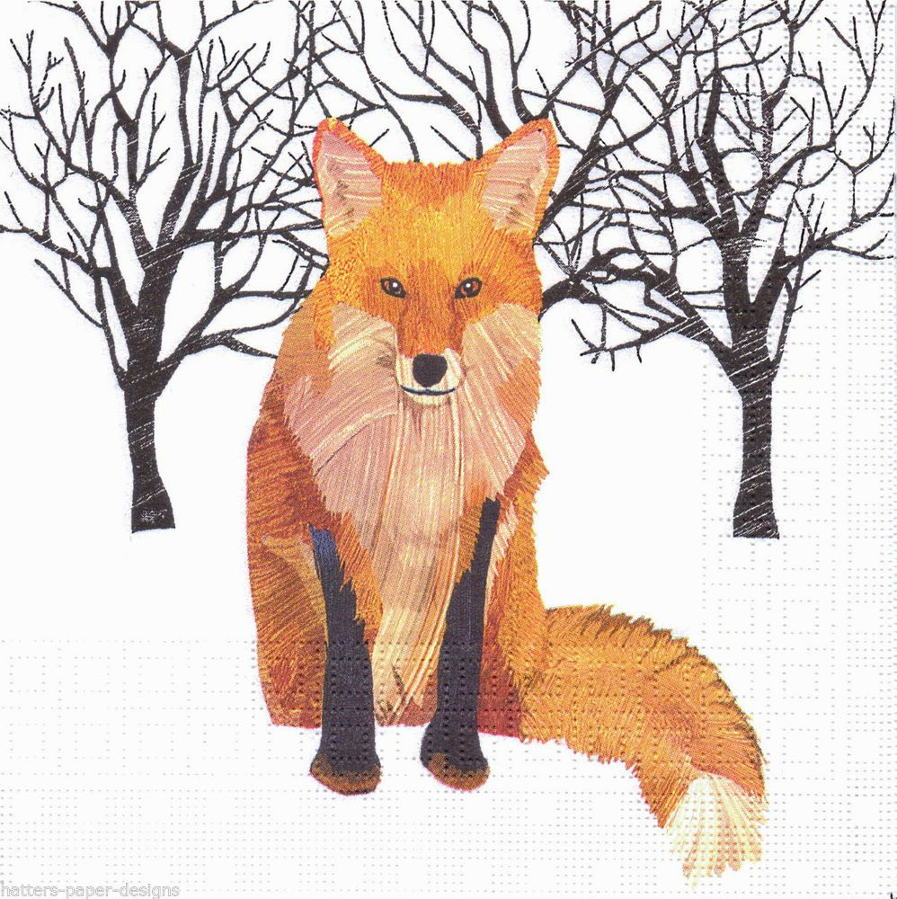 Details About 4 Luxury Paper Lunch Napkins Winter Fox