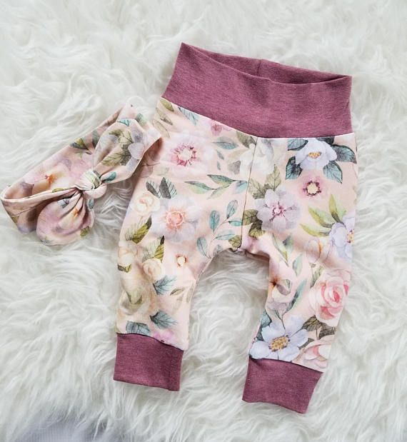 a3ef0affb5dd7 These adorable peach floral leggings will keep your baby girl cozy while  looking super cute! Great to use as a coming home outfit or just for those  ...