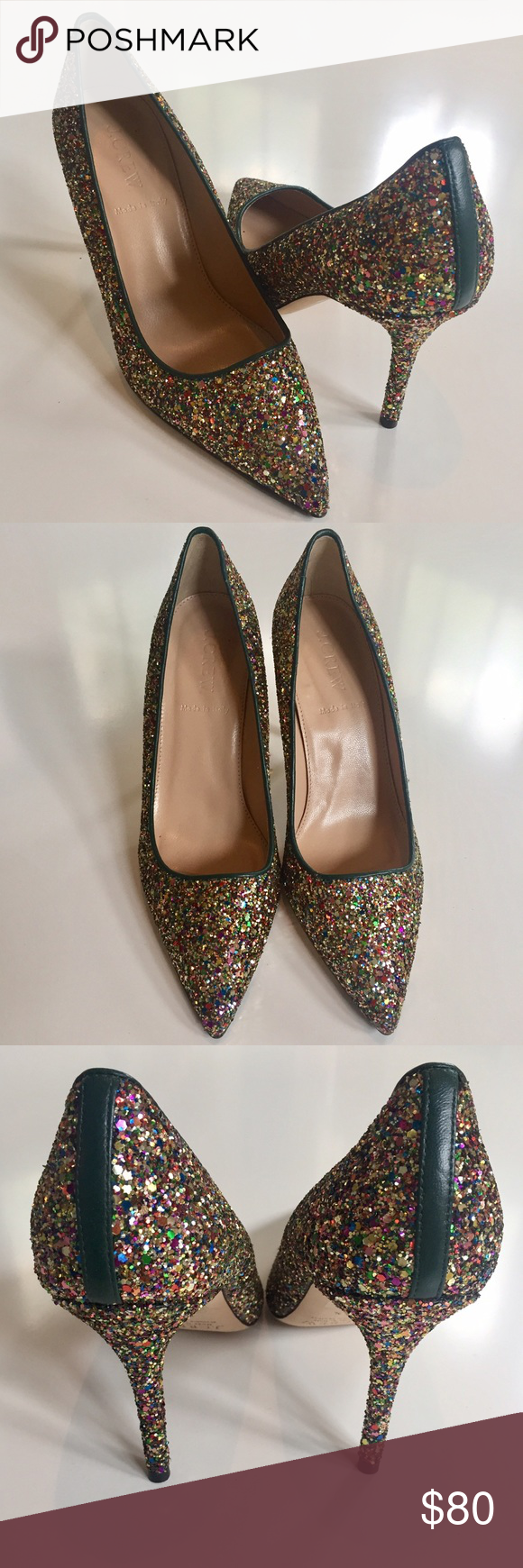 "JCREW Glitter Point Toe Pumps NEVER WORN Gorgeous JCREW Collection glitter point-toe pumps NEVER WORN. Beautiful, comfortable, and extremely high quality - Made in Italy. Forest green leather piping around opening and tab at back ankle with a 3.75"" heel. Perfect for fall and winter parties! J. Crew Shoes Heels"