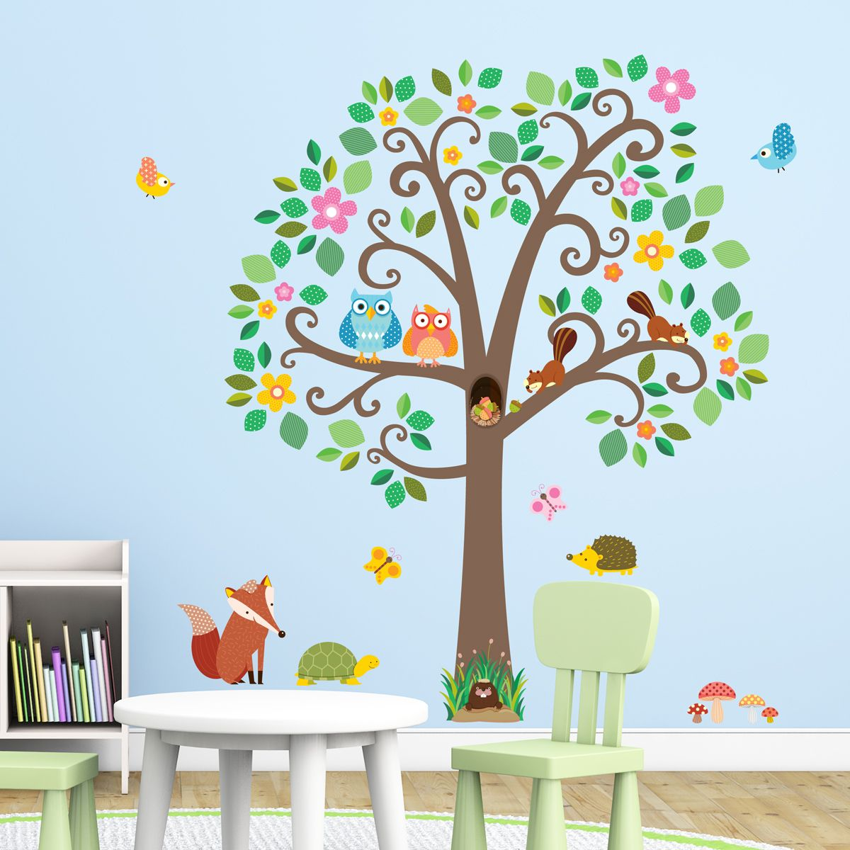 Large Scroll Tree & Animals Nursery Wall Stickers https ...