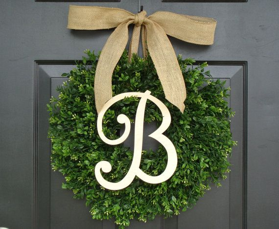 Photo of Realistic Artificial Boxwood Wreath-(12 to 30 inch Sizes available)-Window Wreath-Holiday Window Decoration