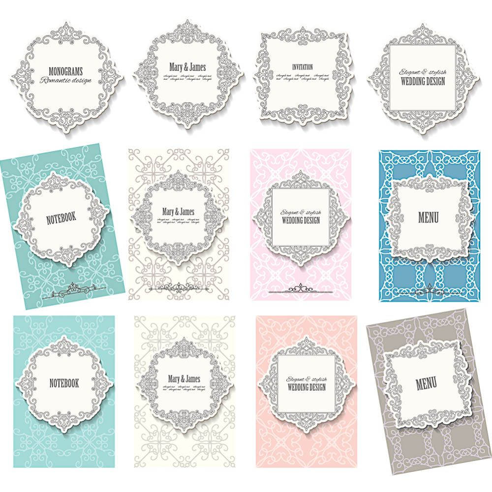 Decorated frame and backgrounds template for wedding invitations ...