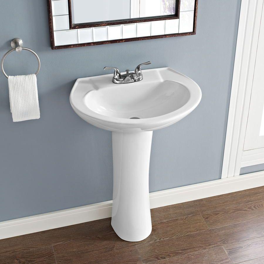 Shop AquaSource 33.66-in H White Vitreous China Pedestal Sink at ...