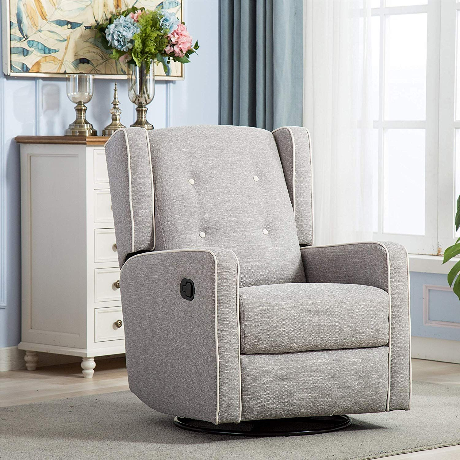 CANMOV Swivel Rocker Fabric Manual Recliner Chair for