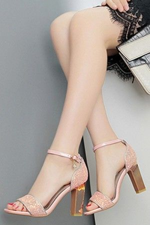 8338089386329 Pink Ankle Strap Glitter Chunky Heel Sandals   Women s Sexy Sandals Shoes