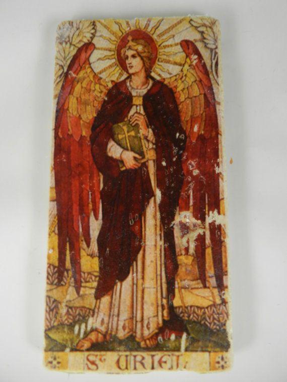 Archangel st uriel stone handmade icon religious home decor angel art