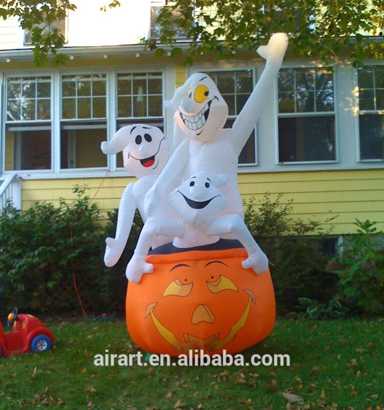 Halloween outdoor decorated with giant inflatable pumpkin and ghost - outdoor inflatable halloween decorations