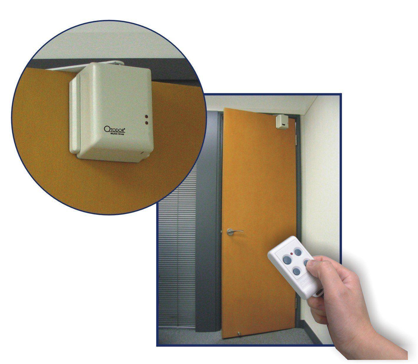 Open And Close A Standard Swing Door By Remote Control Using The Skylink Automatic Swing Door Opener Automatic Door Opener Automatic Door Sliding Door Design