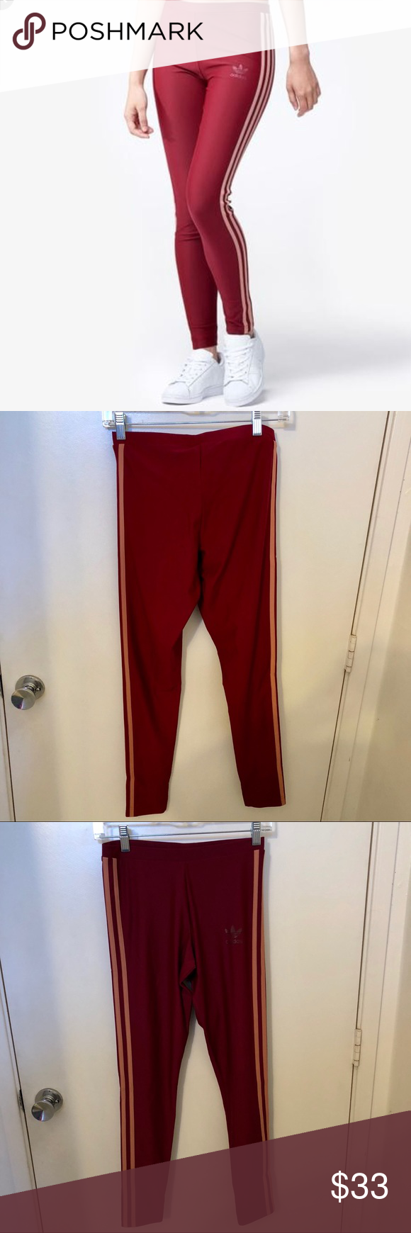 30b097515868 NWT adidas burgundy 3 stripe leggings S NWT tag burgundy and peach stripe  adidas legging tights for workout or trendy casual wear . adidas Pants  Leggings