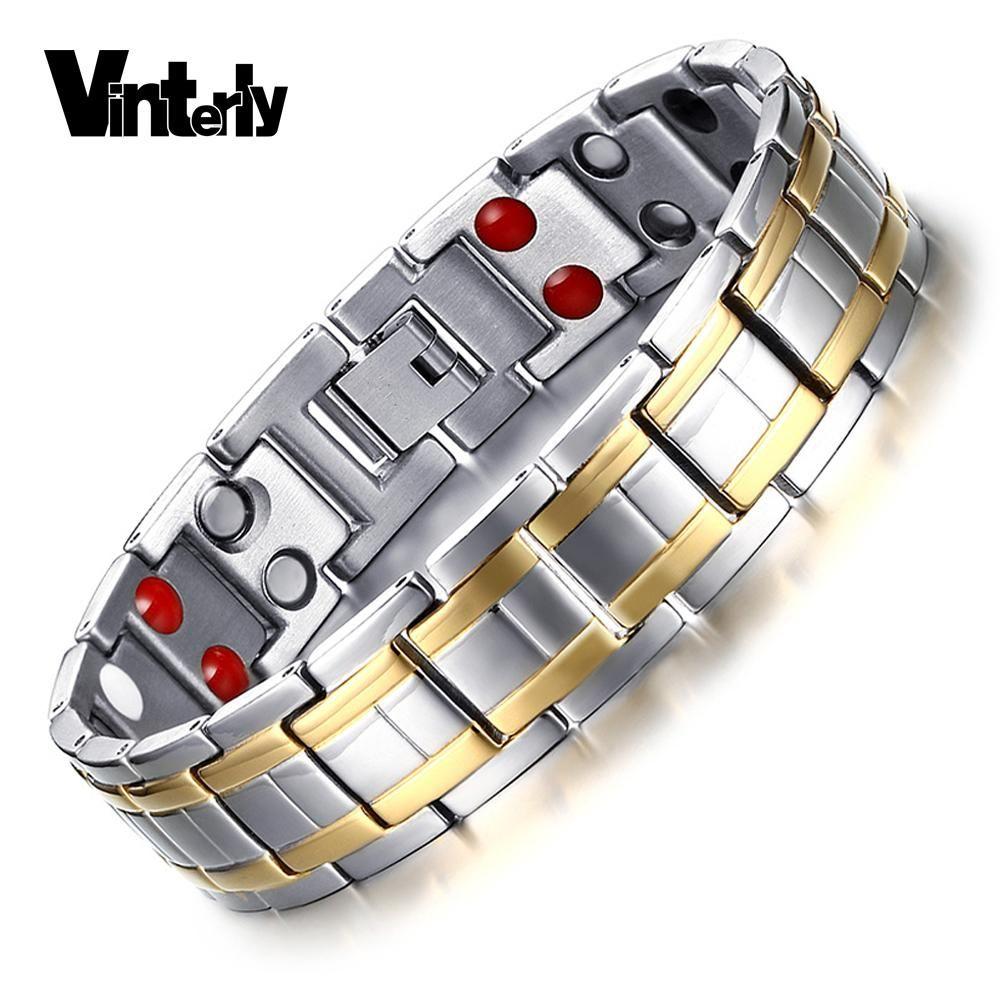 Vintely goldcolor stainless steel bracelet for men germanium chain