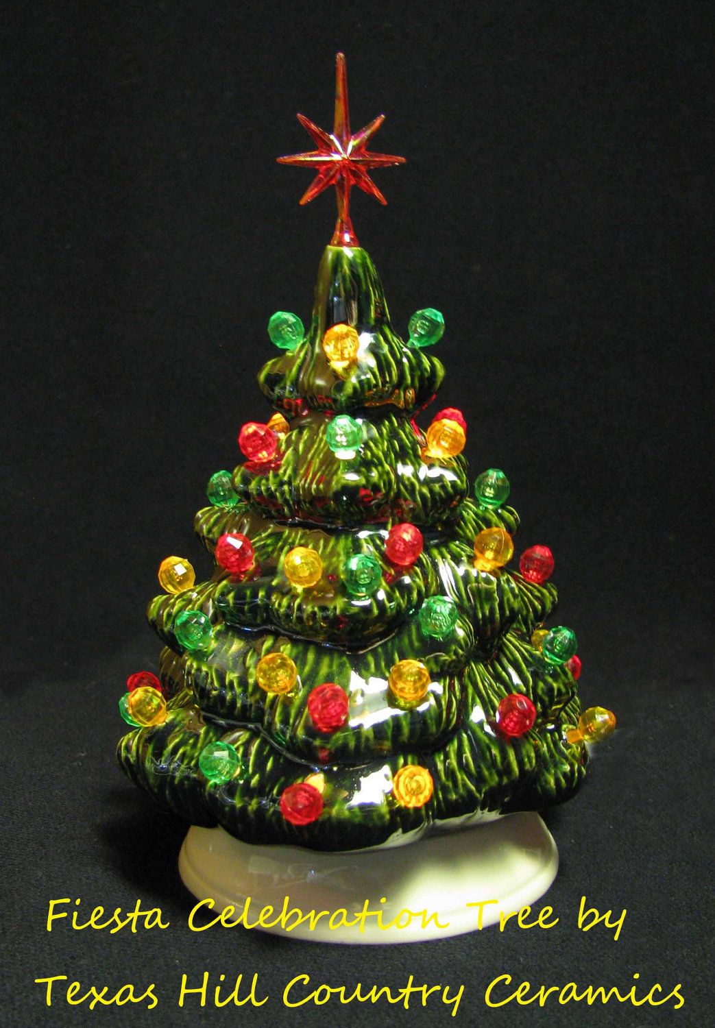 Southwest Fiesta Style Ceramic Christmas Tree Red, Green & Yellow ...
