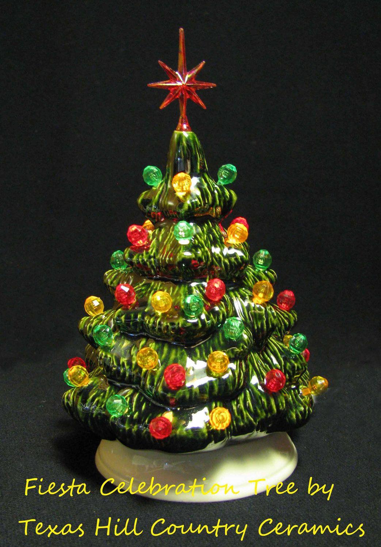 Southwest Fiesta Style Ceramic Christmas Tree Red, Green & Yellow ...