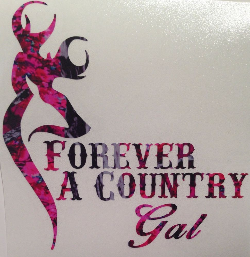 "Pink Camo Cowgirl Horseshoe Country Truck Vinyl Decal 5/"" Muddy Rodeo Hunter Girl"