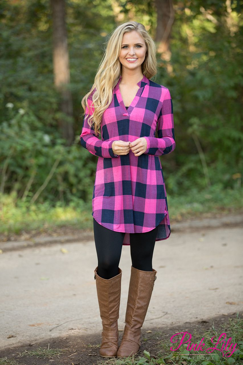 Have A Little Fun Plaid Tunic Pink  Pinterest  Pink lily Online