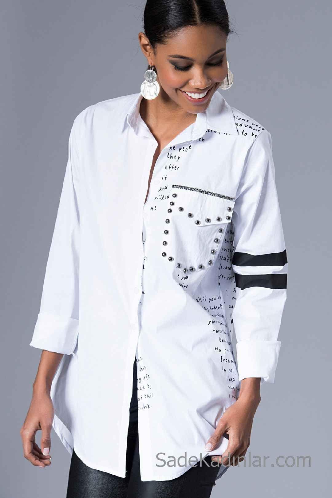 2020 Beyaz Gomlek Modelleri Onden Dugmeli Uzun Kol Metal Aksesuarli Moda Stilleri Kadin Tisort Gomlek