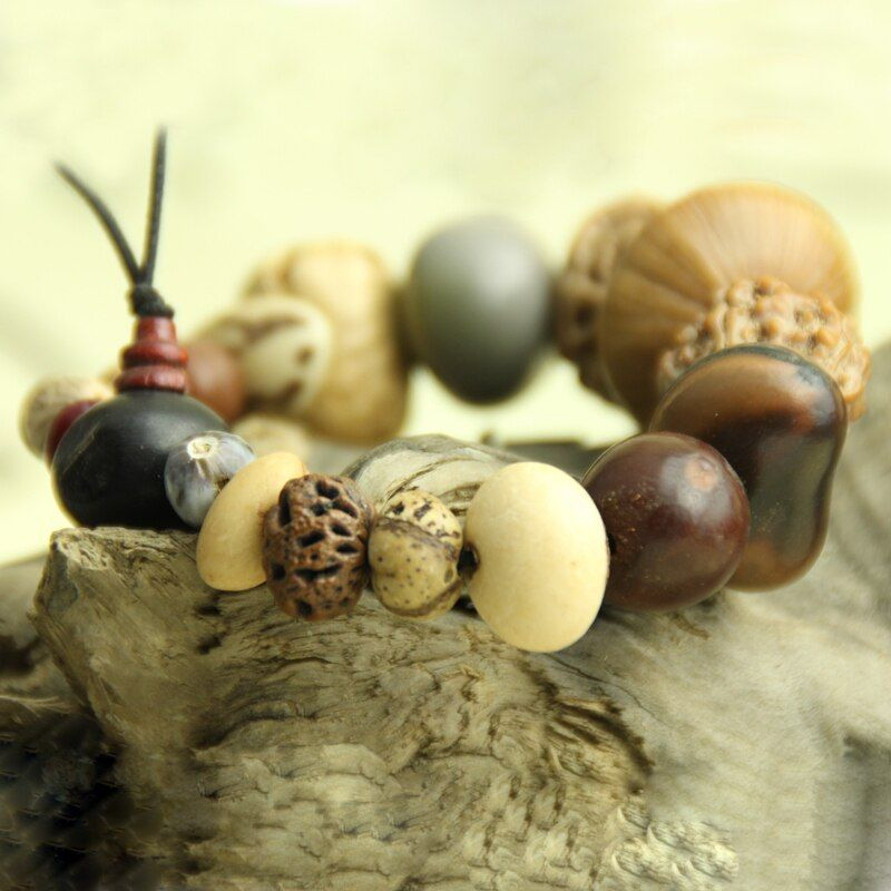 Natural wood buddha bracelets 18 bodhi seeds beads mala rosary jewelry classical elastic hand string prayer gift #rosaryjewelry