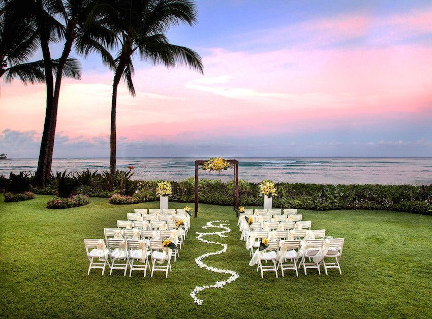 6 romantic wedding honeymoon destinations in hawaii moana ceremony with petal aisle photo courtesy of moana surfrider a westin resort spa waikiki beach junglespirit Gallery