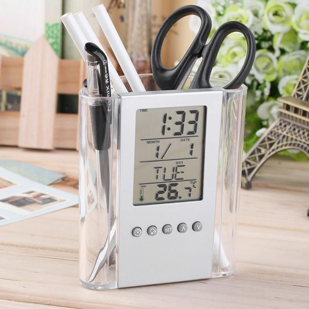 Gelbes esszimmer dekor lcd clock thermometer holder in   products  pinterest  alarm