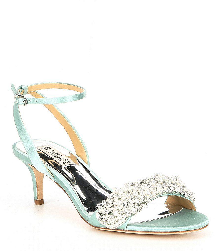 Badgley Mischka Fiona Satin Pearls Kitten Heels Bridal Shoes Wedding Shoes Blue Bridal Shoes