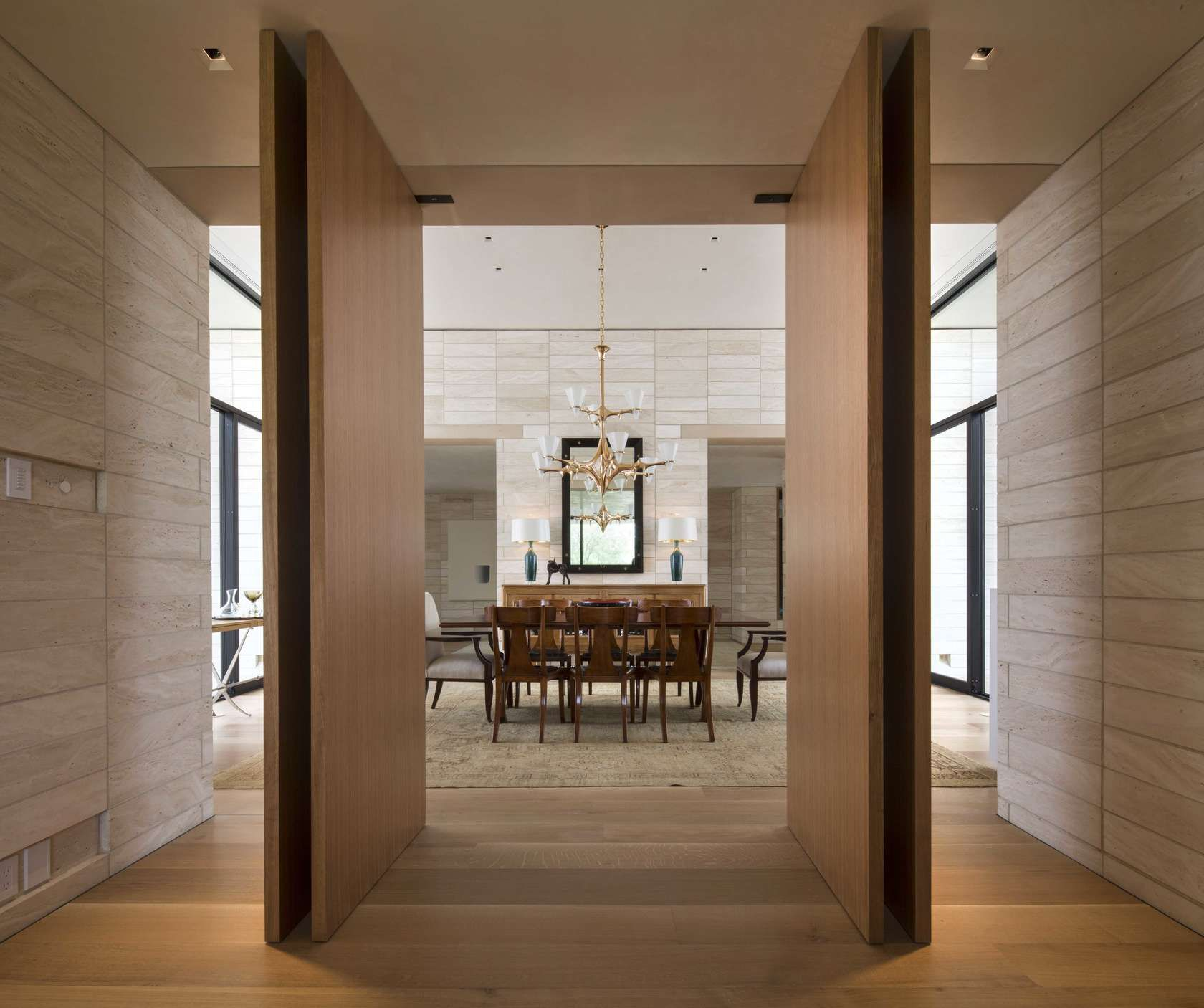 The house is defined by uu stacked lime stone walls that