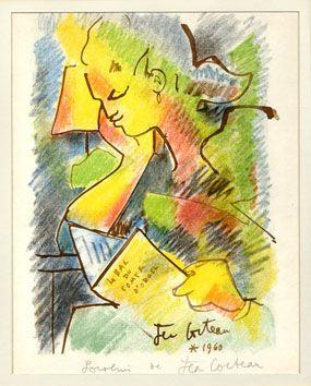 La Lectrice 1960 Lithographie Originale Avec Envoi De L Artiste Au Crayon Souvenir De Jean Cocteau Dessin Au Feutre Lithographie Dessin