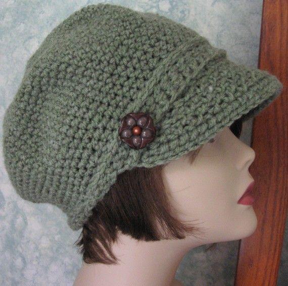 Newsboy Crochet Hat Pattern Womens Khaki Visor Hat Chemo Hat Bad
