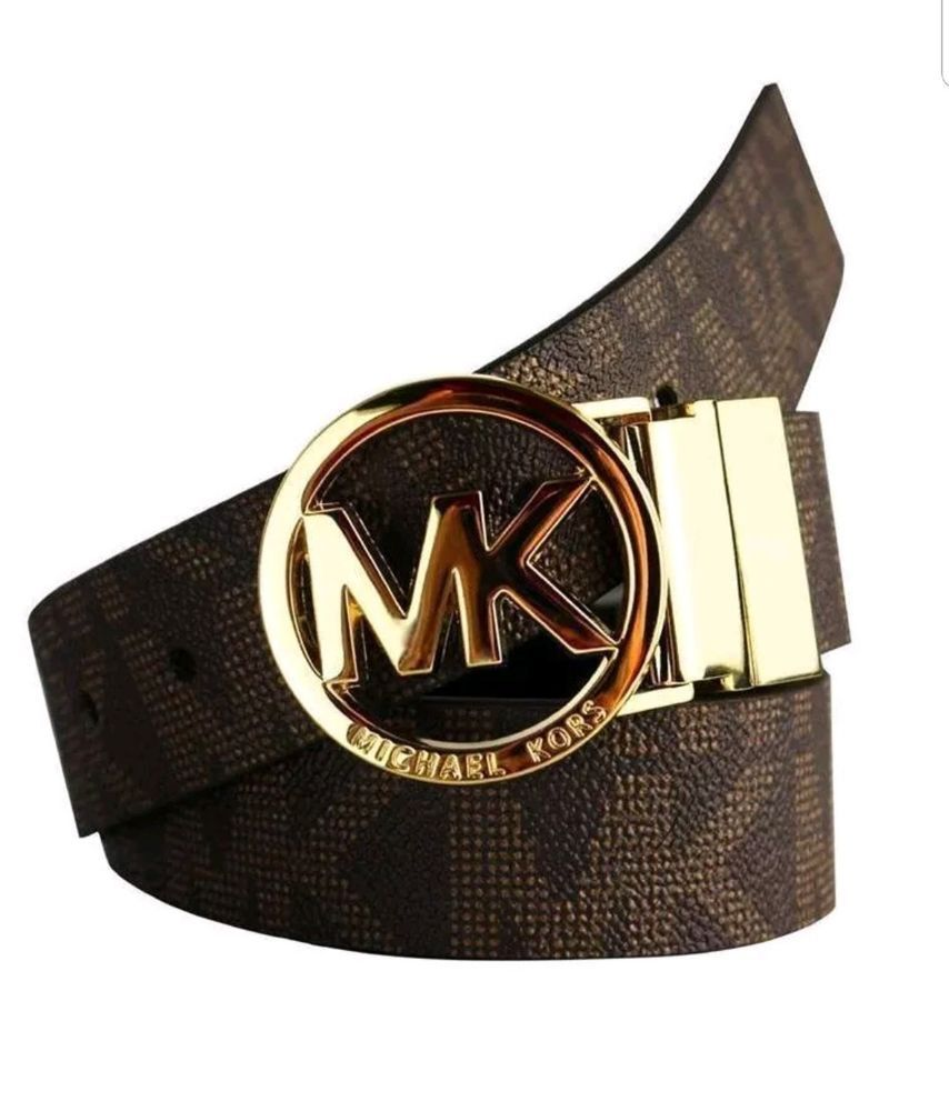 10e4cd309053 NEW Michael Kors Reversible MK Logo Buckle Signature Brown Belt Size L B12   MichaelKors