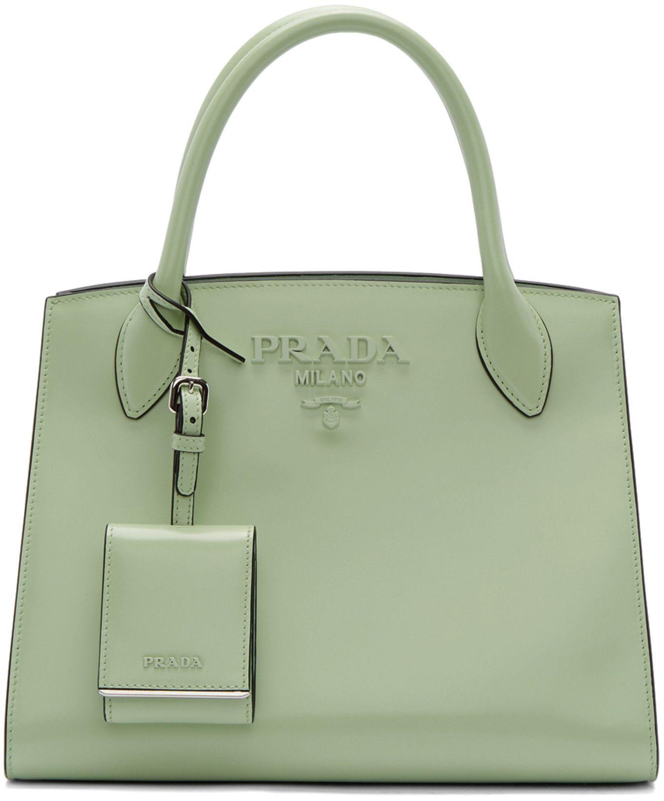 Prada - Green Small Tonal Logo Paradigm Tote  d6618729b79