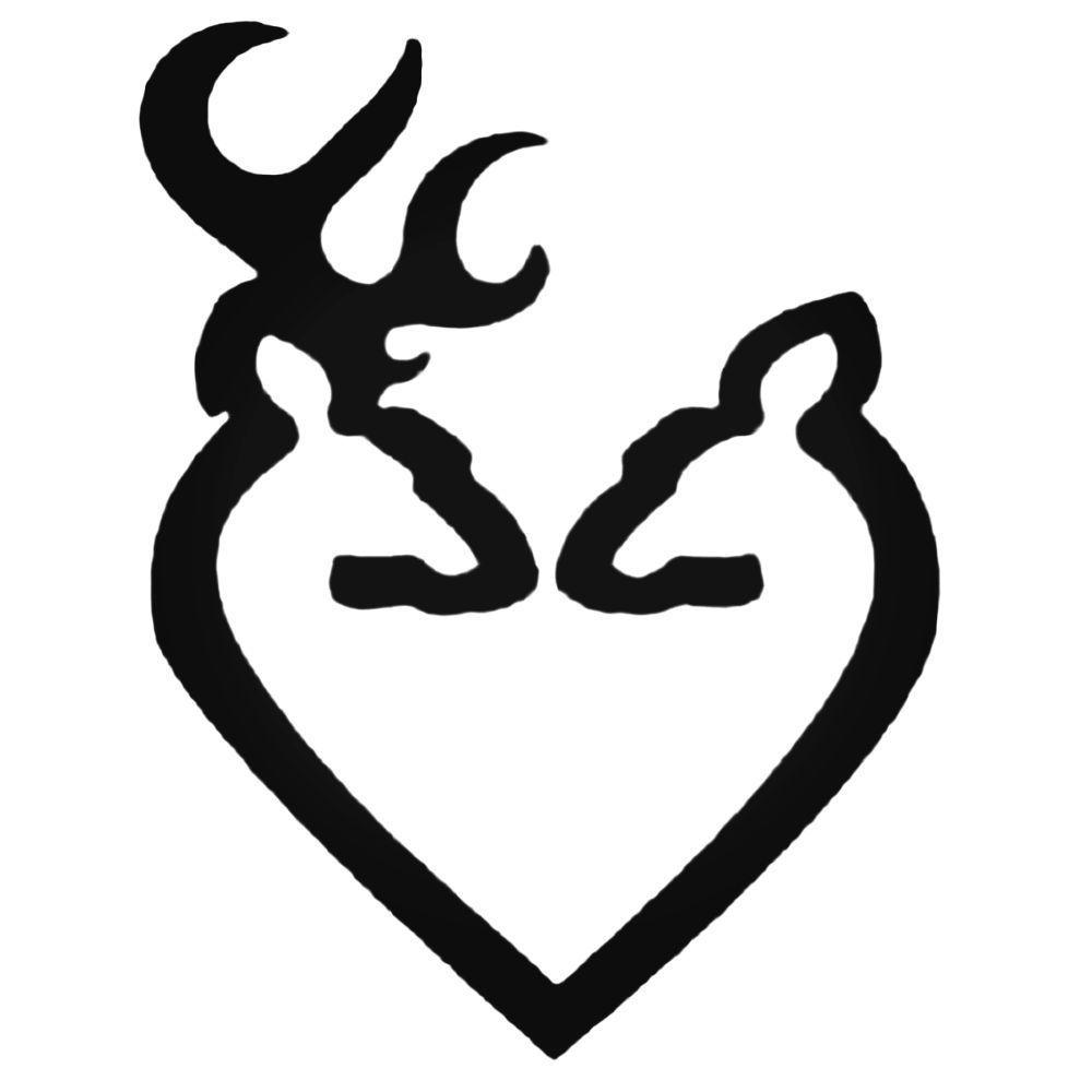 Download Browning Deer Buck Amp Doe Heart Decal Sticker | Heart ...