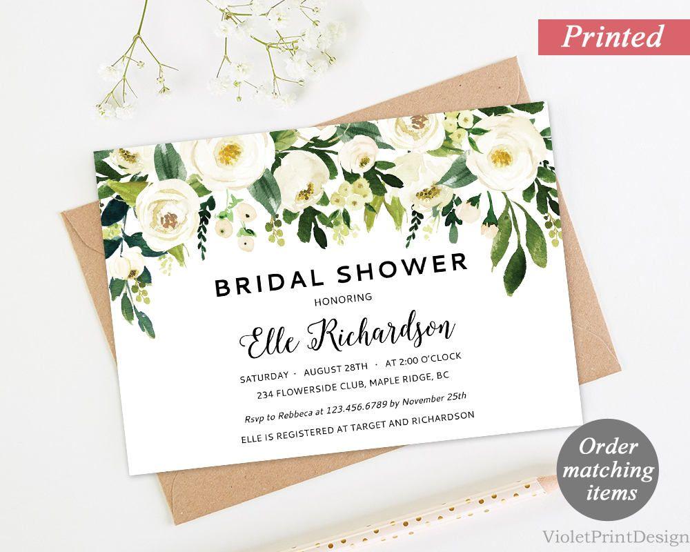 Printed White Flower Bridal Shower Invitation. Floral Bridal SHower ...