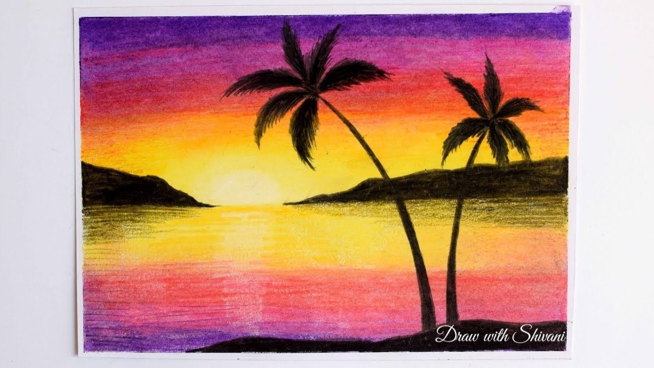 Easy Landscape Using Oil Pastels Landscape Drawing For Beginners