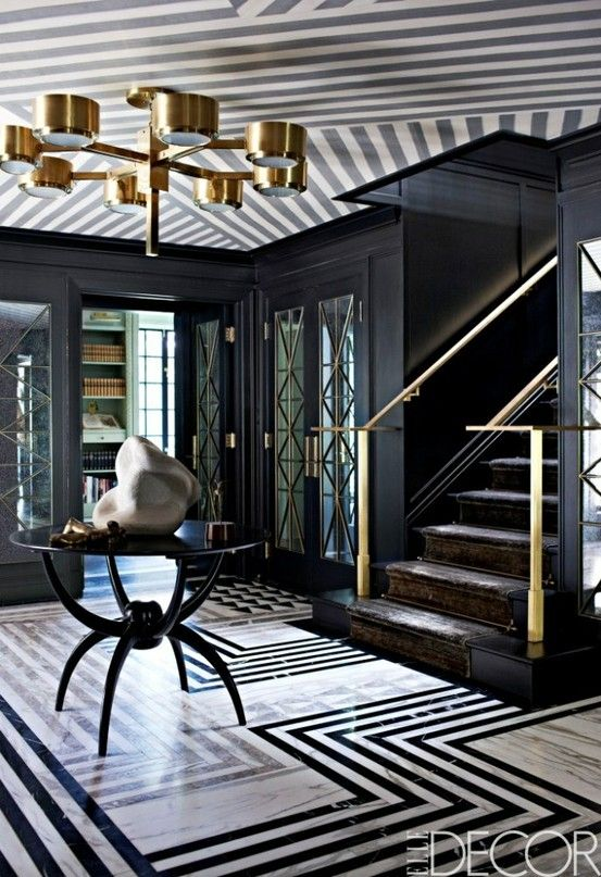 Delightful Art Deco Style Is Used In This Entrance With High Drama Black And White  Patterned Marble Floor, Which Is Mirrored On The Ceiling.