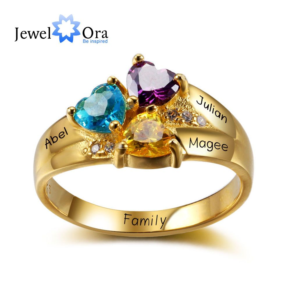 Gold Plated Personalized Engrave Birthstone Jewelry Heart Stone Name