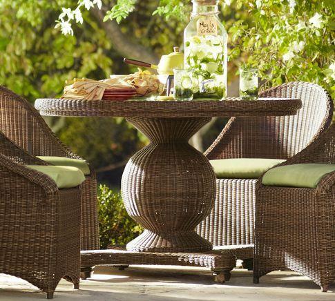 palmetto all weather wicker round pedestal dining table honey rh pinterest pt