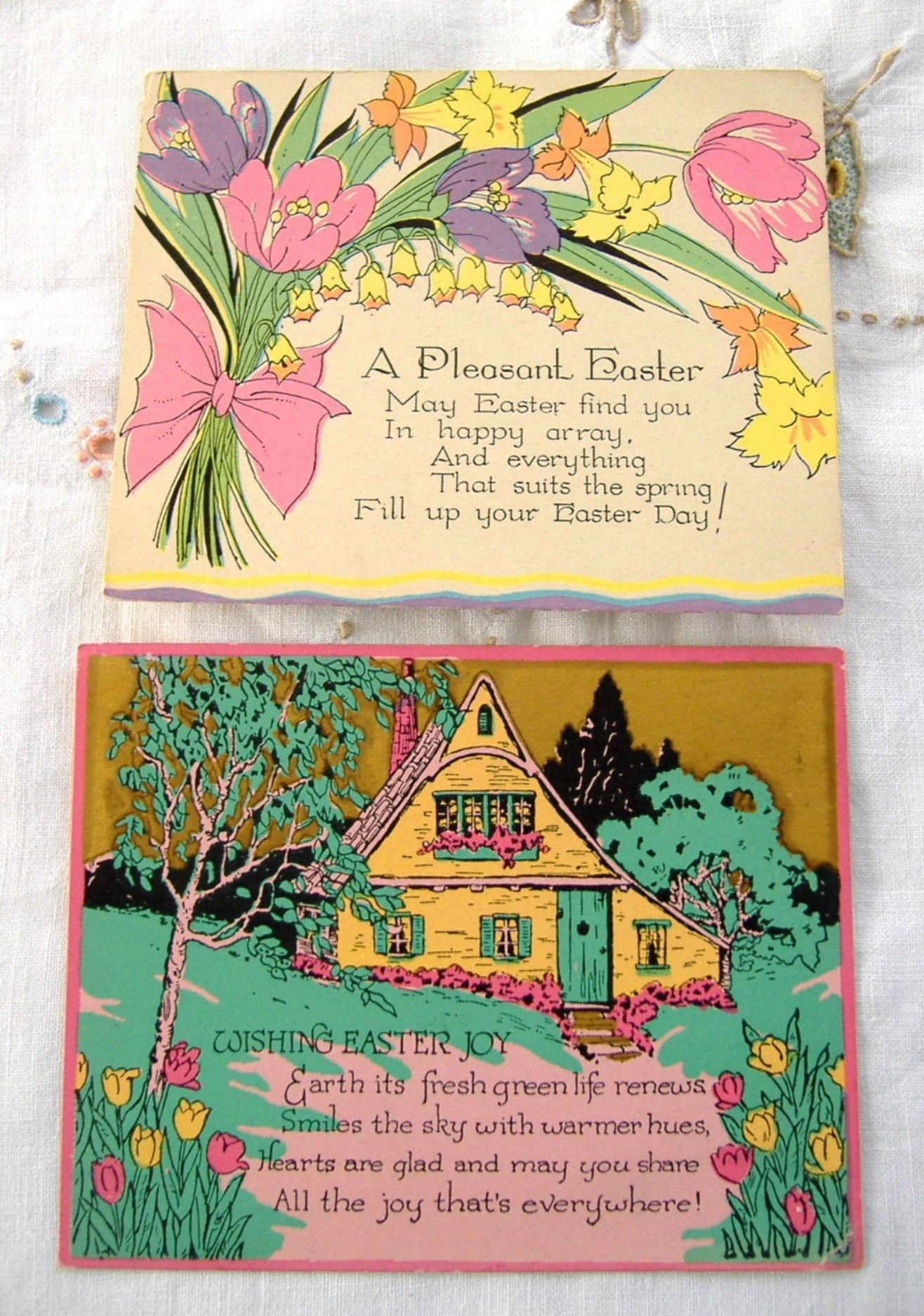Pair 1920s Easter Greeting Cards Gift Tags A Pleasant Easter Gold