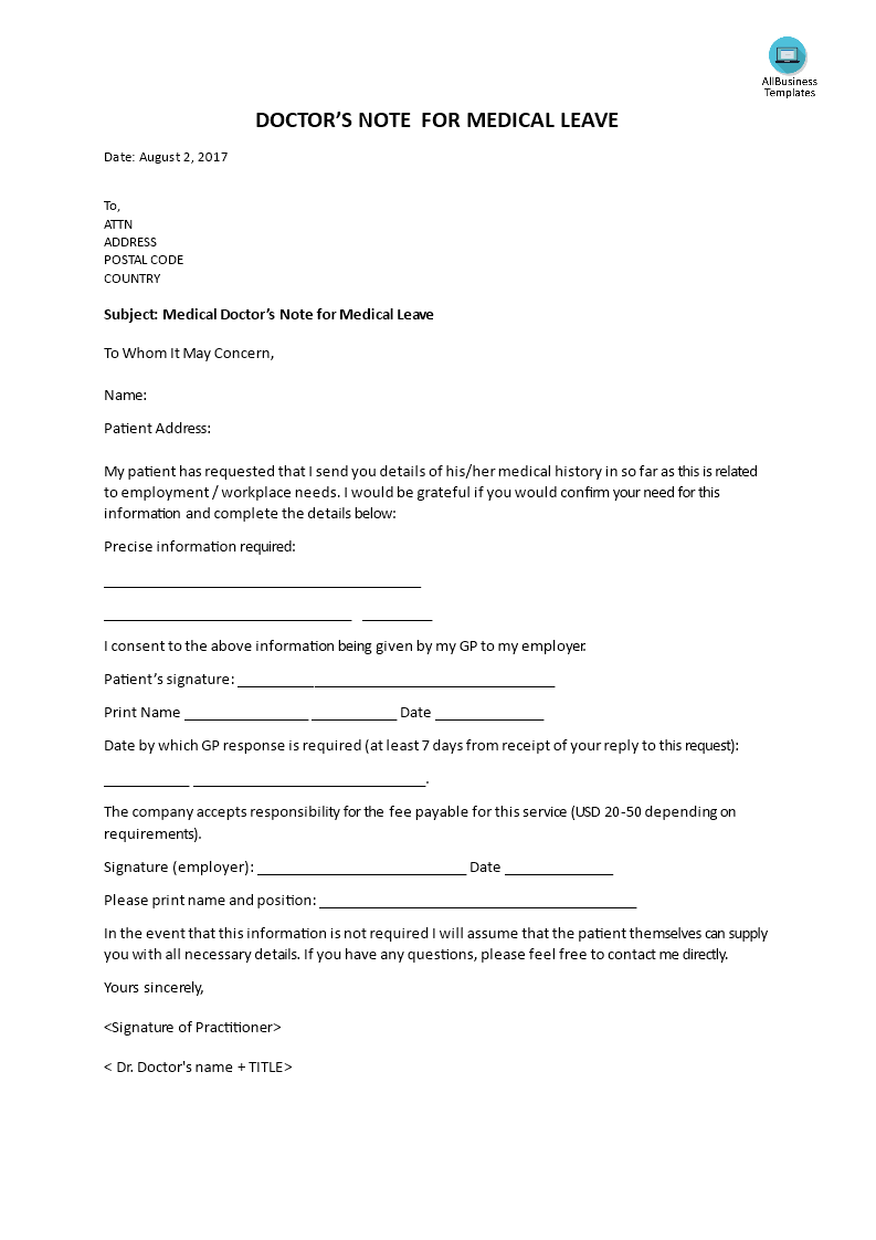 Medical Doctor Note For Medical Leave Do You Need A Medical Doctor S Note We Provide A Free Doctor Note Fo Doctors Note Doctors Note Template Notes Template