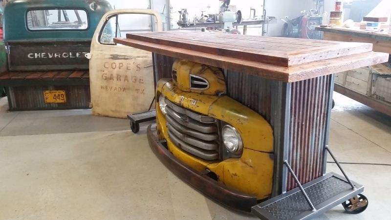 Home Bar Made From Old Truck Home Bar Furniture Automotive Furniture Custom Home Bars