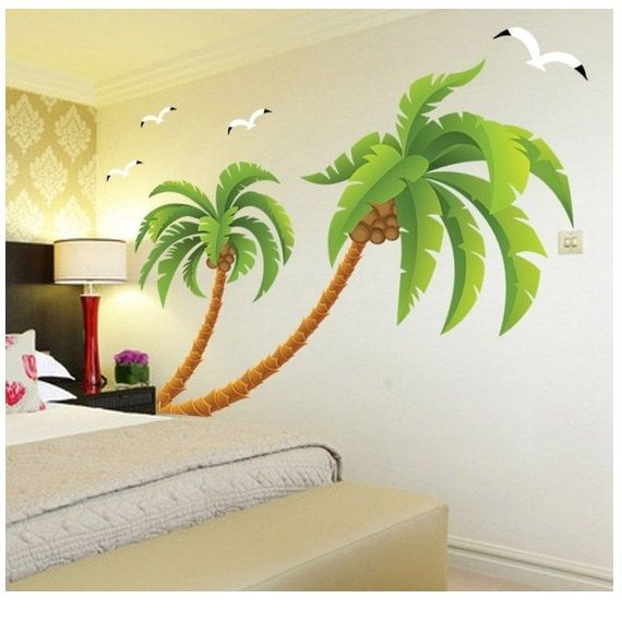 A Lovely Palm Tree Wall Decal Tropical Beach Palm Trees Decals With  Butterfly Vinyl Home Decor