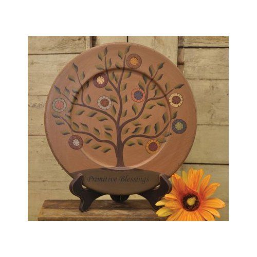 Plate Amp Stand Primitive Blessings Tree Country Rustic 9 1